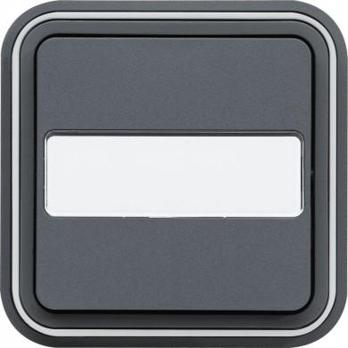 Poussoir porte-étiquette 1F encastré, gris, Cubyko