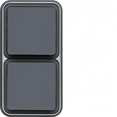 Prise double 2P+T verticale encastrée, gris, Cubyko